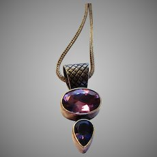 Sterling Silver Pendant Accented in Amethyst and Iolite on a Sterling Silver Chain