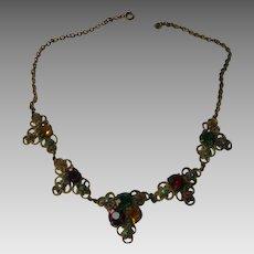 Vintage Multi Stone Five Pendants Necklace