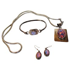 Sterling Silver Matching Pendant, Bracelet and Earrings With Lab Created Opal