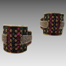 14 Karat Yellow Ruby, Sapphire, Emerald and Diamond Demi Hoop Earrings With Euro Backs