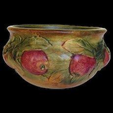 Weller Baldin Low Bowl With Fabulous Apple Decoration 1915 - 1920
