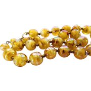 Vintage Marbled Art Glass Beads on Goldtone Chain