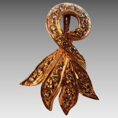 14 Karat Rose Gold Diamond Encrusted Earrings With Euro Backs