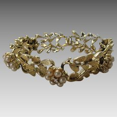 Vintage Mid Century Goldtone Coro Bracelet With Faux Pearl and Crystal Accents