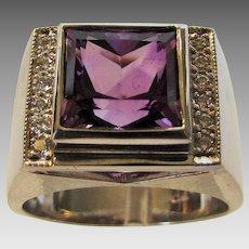 18 Karat White Gold Amethyst and Diamond Unisex Ring