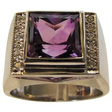 18 Karat White Gold Amethyst and Diamond Unisex Ring