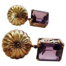 14 Karat Yellow Gold Amethyst Clip On Earrings