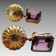14 Karat Yellow Gold Amethyst Clip On Earrings