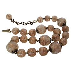 Vintage Venetian Beads Necklace With Rose Gold Accents