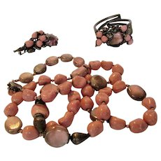 Miriam Haskell 1950's Pink and Grey Set With Matching Necklace, Pin and Bracelet