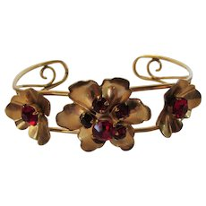 Vintage Signed Barclay Gold Filled Cuff Bracelet With Faux Garnet Accents