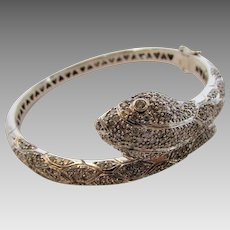 14 Karat White Gold 5 Carat Diamond Snake Bracelet With Two Safety Chains
