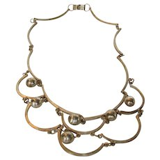 Sterling Silver Vintage Mexican Festoon Necklace