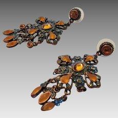 Vintage Early Joan Rivers Bronze Tone Pierced Earrings