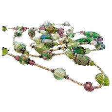 Vintage Art Glass Beads in  Opera Length in Many Shapes