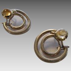 Movado Sterling Silver Citrine Pierced Earrings