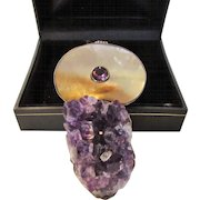 Sterling Silver Designer Amethyst and Mother of Pearl Pendant