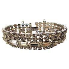Vintage Mid Century Rhinestone Bracelet With Safety Chain