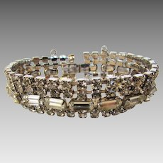 Vintage Mid Century Rhinestone Bracelet With Safety Chain