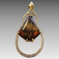18 Karat Yellow Gold Ammolite and Diamond Pendant