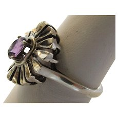 Sterling Silver Vintage Kabana Ring With Amethyst Center Stone