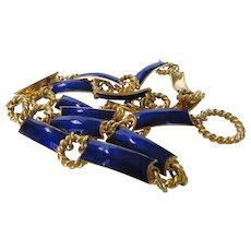 Gucci Vintage Belt or Necklace in Blue Enamel and Goldtone
