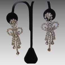 Vintage Hobe 1966 Crystal Clip on Earrings