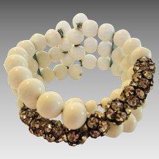 Vintage Mid Century Rigid White Bead Bracelet With Nine Rhinestone Rondelles