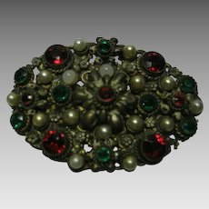 Vintage Bohemian Pin with Unfoiled Red and Green Stones and Faux Pearls