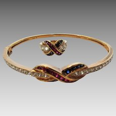 Sterling Silver Gold Wash Bangle and Matching Ring Decorated in Ruby and Sapphire Crystals