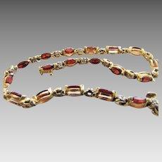 14 Karat Yellow Gold Ruby Diamond Tennis Bracelet