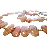 Artisan One of A Kind Sunstone Gem Bead Necklace With Artisan Copper Toggle and 10 Karat Spacer Beads