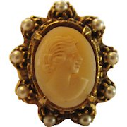 Vintage  Costume Cameo Ring Accented With Faux  Pearls