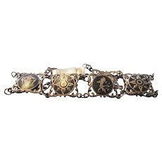 Sterling Silver Early Siamese Bracelet With Character Symbols