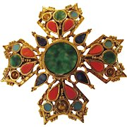 Vintage Art Faux  Malachite and Faux Coral and Faux Lapis Pin in Maltese Cross Design
