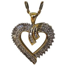 10 Karat Yellow Gold Diamond Heart on a 14 Karat Yellow Gold Chain