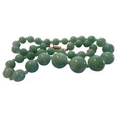 Vintage Green Natural Stone Bead Necklace With Barrel Screw Clasp