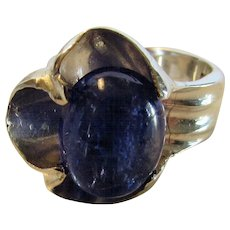 Sterling Silver Taxco Tanzanite Cabochon  Modernist Ring