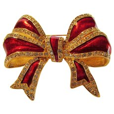 Vintage Early Joan Rivers Red and Goldtone Enamelled Bow PIn
