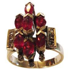 18 Karat White Gold Ruby Diamond Cluster Ring