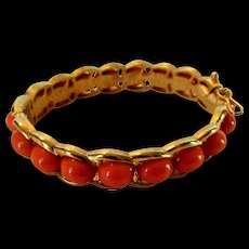Vintage Crown Trifari Bangle With Faux Coral Cabochons