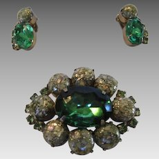 """Vintage Mid Century """"Confetti"""" Stone Pin and Earring Set  With Large Green Crystal Accent"""