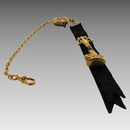 Victorian Goldtone Watch Fob on Original Black Grosgrain Ribbon