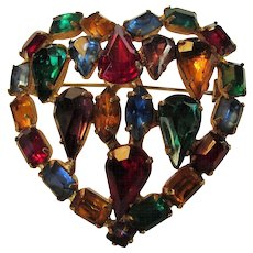 Vintage Multi Color Crystal Heart Pin