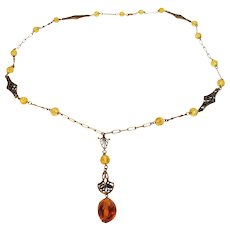 """Vintage Bead Necklace with Great Findings and 3 1/2"""" Drop"""