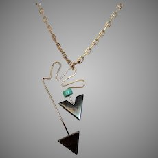 Sterling Silver Abstract Pendant With Hematite and Turquoise Accents on a Sterling Silver Chain
