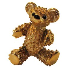 Vintage Boucher Signed and Numbered Goldtone Teddy Bear With Black Enamelled Nose and Eyes