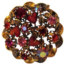 Vintage Austrian Mid Century Pin With a Variety of Crystals and Glass Hearts