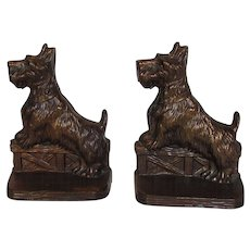 Vintage Coppertone Scottish Bookends With Original Felt Bottoms