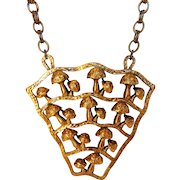 Runway Mushroom Themed Goldtone Pendant on Different Toned Chain